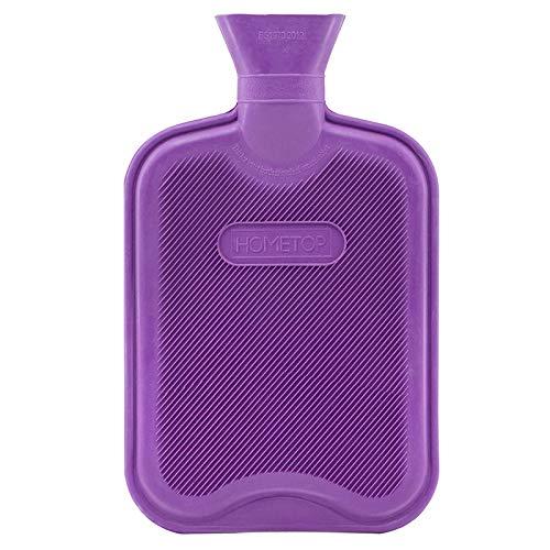 HomeTop Premium Gummi Wärmflasche Violett, 2L ohne Bezug, Besonders Für Schmerzlinderung, Wärm- und Kältetherapie, Langlebig