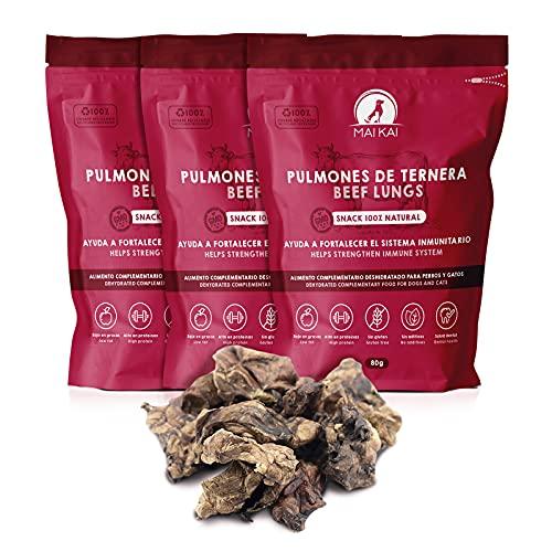 MAIKAI - Chuches y premios Naturales Perros - 3 Bolsas de Snacks saludables - 3 x 80g Pulmones de Ternera en Dados - Dieta Barf - Snack deshidratado Rico en proteínas.