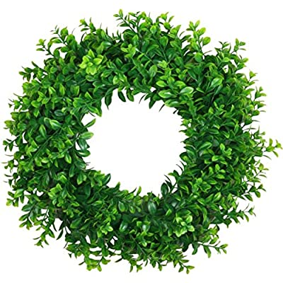 "Pauwer Artificial Green Leaves Wreath 17"" D..."