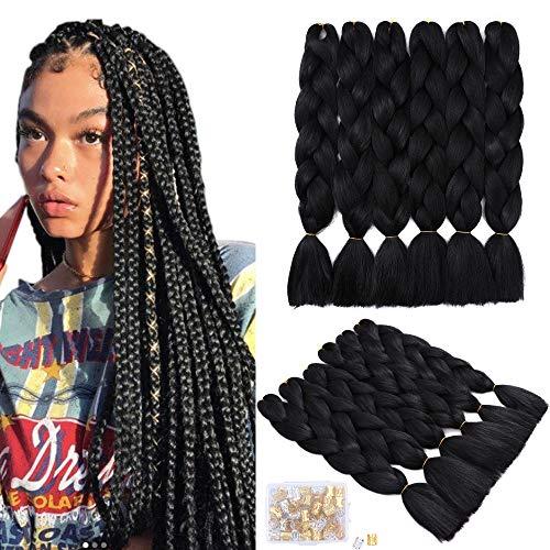 6 Packungen schwarze Jumbo Haare zum Flechten Kanekalon Jumbo Braids synthetische Ombre Extensions zum Flechten (24 Zoll,1B#)