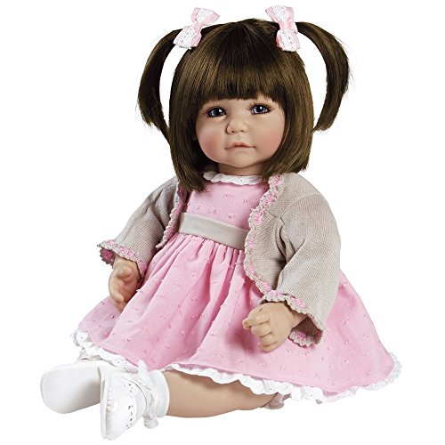 Adora ToddlerTime 'Sweet Cheeks' Doll in pink dress, fancy tan cardigan, white socks and shoes