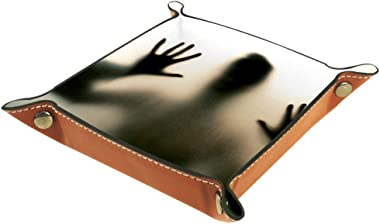 DJROW Horror Murder Behind The Matte Glass Small Desk Organizer Jewelry Catchall Valet Tray Change Caddy Bedside Storage Box