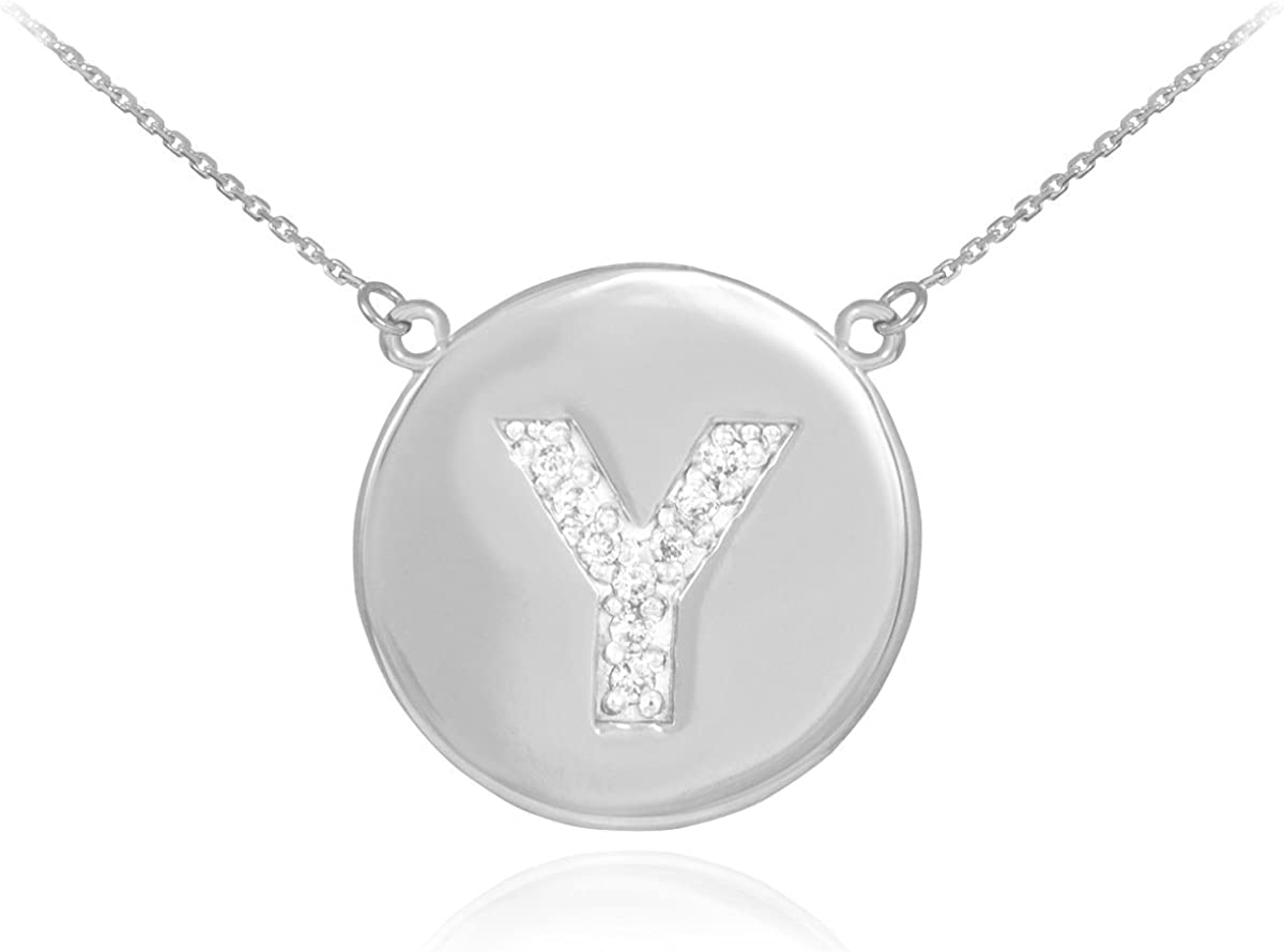 14k White Gold Letter Y Initial Diamond Disc Necklace