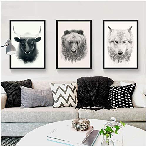 A&D Stil Grünland Tier Leinwand Malerei Stier und Bär Poster Bild Home Wandkunst Dekoration -50x70cmx3pcs -Nein Rahmen