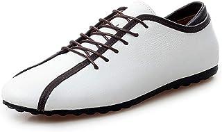 男士革靴 マイクロファイバーレザーファッション軽量モカシン耐久性滑り止めペニーローファー用男性レースアップスタイル 個性な (Color : 白, サイズ : 25 CM)