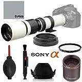 High-Power 500mm/1000mm f/8 Manual White Telephoto Lens for Sony Alpha A-Mount Alpha A99V, A99,A77,A68,A65, A58, A57, A55, A37, A35, A33, A900,A700,A580,A560,A390,A380,A290 A-Mount Digital SLR Cameras