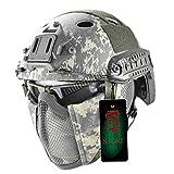 QZY Hochkonfigürlicher Taktischer Helm, Airsoft Paintball Safety Hard Hat CS Tactical Equipment mit Goggles und Stencil Mask Männer und Frauen-9 Camouflage,ACU