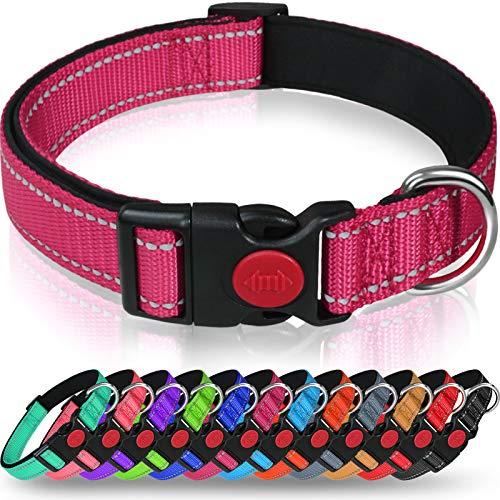 Taglory Hundehalsband, Weich Gepolstertes Neopren Nylon Hunde Halsband für Kleine Hunde, Verstellbare und Reflektierend für das Training, Hot Pink