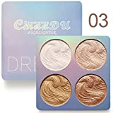 Shimmer Highlighter Powder Palette, Illuminator Powder Palette Highlighter Baked Waterproof Long Lasting Brilliant Lighten Skin Color Face Contour Powder (A3)
