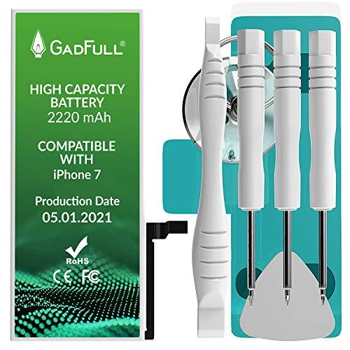 GadFull Batería de Alta Capacidad de reemplazo Compatible con iPhone 7 | 2021 Fecha de producción | Incluye Manual de reparación y Kit Profesional de Juego de Herramientas