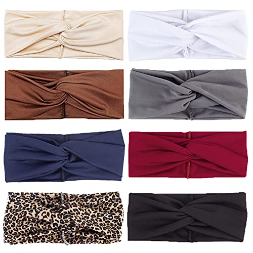 8 fasce elastiche da donna, stile bohémien, con nodo intrecciato, accessorio per capelli per ragazze e donne