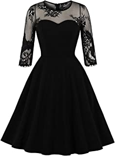 Wellwits Women`s See Through 3/4 Sleeves Floral Mesh Party Vintage Swing Dress