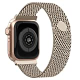 Recoppa - Correa para Apple Watch (38 mm, 40 mm, 42 mm, 44 mm, acero inoxidable, compatible con iWatch Series 1/2/3/4/5), champán, large