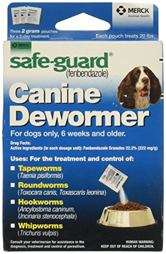 Safe-Guard (fenbendazole) Canine Dewormer for Dogs, 2gm pouch (ea. pouch treats 20lbs.)