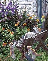 QWEFGDF DIYデジタル油絵 初心者と大人がキャンバスに番号でペイントすることを目的(40x50 cm)木製スタンドの猫