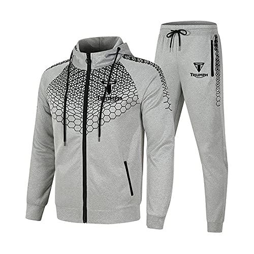 SPONYBORTY Conjunto de chándal para hombre y mujer Traje de jogging Triu-mph Suéter con capucha a rayas de 2 piezas + Pantalones traje deportivo Niños/gray/XXL