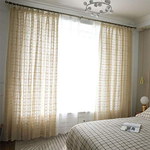 """ABREEZE Cotton Crochet Lace Curtain, French Crochet Window Curtains Rod Pocket Drapes for Living Room Bedroom (Beige,59"""" Wx86 L)"""