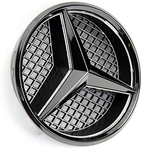 IHEX Auto Xenon White LED Emblem for Mercedes Benz 2011-2018 Black Edition, Front Car Grille Badge, Illuminated Logo Hood Star DRL, Drive Brighter(Matte Black)
