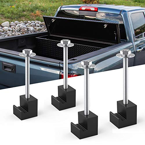 JOYTUTUS Truck Tool Box Mounting Kit, Upgraded Aluminum Truck Tool Box Tie Downs, J Hook Crossover Toolbox Pickup Truck Universal Fit, Easy Mount 4 Pack - Black