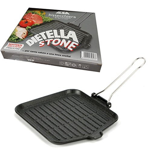 Bistecchiera IN GHISA inossidabile ILSA Dietella Stone 24x24cm per cottura secondi e contorni, carni, arrosti, rolate, brasati, spiedini, pesce e verdure Made in Italy