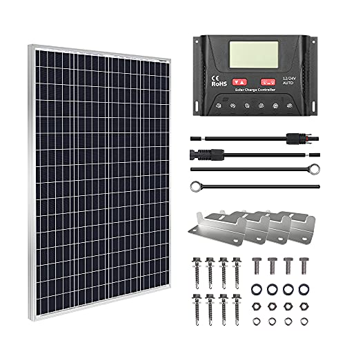 HQST 100W Solar Panel Kit 12V Monocrystalline Solar Panel with 30A PWM Solar Charge Controller, 20Ft 12AWG Connector Cables, Z-Brackets, 8Ft 10AWG Connector Cables, 40.1 x 20 x 1.18 Inches