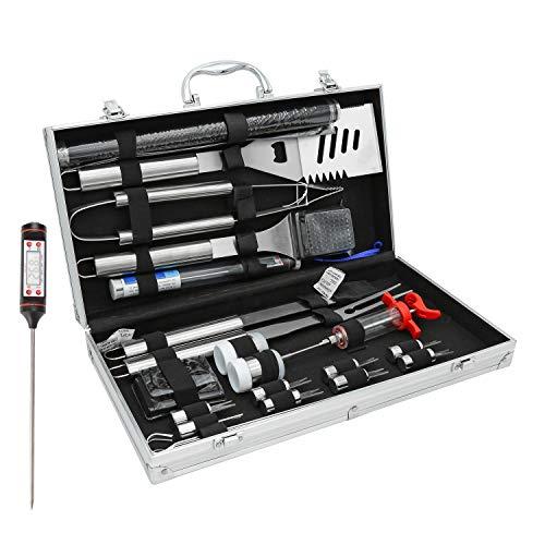 Hengda 25pcs Edelstahl Grillbesteck Set mit Aluminium Koffer, Grill Werkzeuge fürs Camping Outdoor Grillen, Hochwertig Grill zubehör für Vater, Perfekte Geschenkidee für Männer