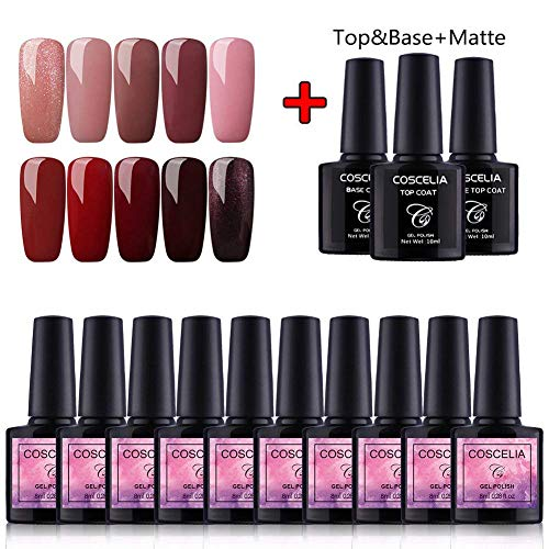 Saint-Acior 10 Farben Nail Art Gel Lack UV Nagellack Gelnägel Farbenset+ Top Base Coat Matte Top Coat