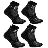 Rainbow Socks - Damen Herren Sneaker Baumwolle Antirutsch Sport Stoppersocken - 4 Paar - Schwarz - Größen EU 44-46