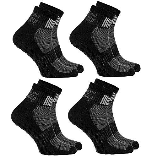 4 pares de calcetines Antideslizantes Negros ABS ideal para los Deportes Yoga, Fitness, Pilates, Artes Marciales, Danza, Gimnasia, Trampolín. Tamaños 44-46 Algodón Respirable, comodidad para los pies