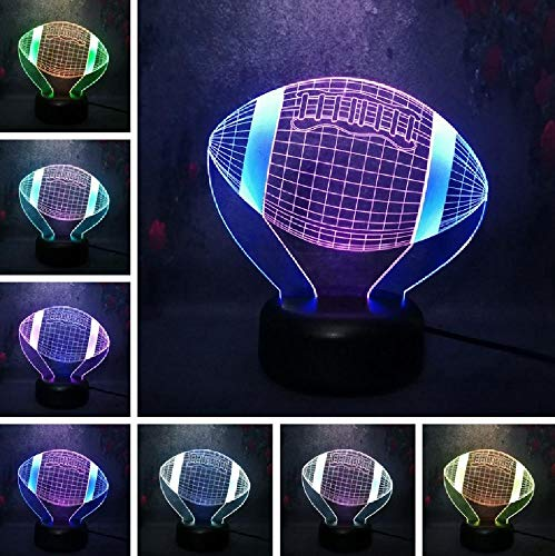 Led Night Light Table Lamp 3D 3D Sport Rugby Football Lava Lamp LED Multicolor Night Light Booter Christmas Child Baby Bedside Sleep Mild Lighting