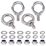 22Pcs 304 Stainless Steel M10 Male Thread Lifting Ring Eye Bolt Kit, Including 4Pcs M10 Eye Bolt with 6Pcs Lock Nuts, 6Pcs Lock Washers and 6Pcs Flat Washers