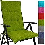 Cojín respaldo para sillas de jardín Tino 118 x 50 x 5,5 cm repelente al agua y a la suciedad - Cómodos cojines con respaldo acolchados y cinta elástica iderales para exteriores, Color:Verde manzana