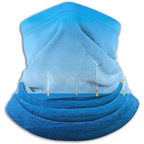 Linger In Blue Sea Wind Power White Windmill Neck Gaiter Face Mask Bandana Seamless Headband Ski Riding Running