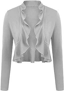 Women's Long Sleeve Ruffle Bolero Shrug Open Front Cropped Cardigan Casual Draped Lightweight Jacket for Dress