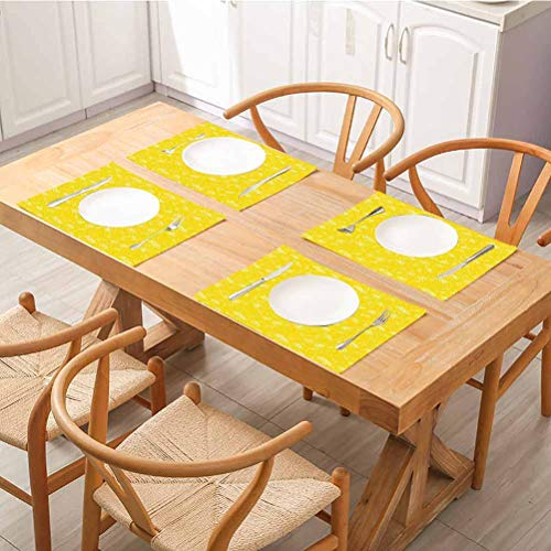Heat Insulation Stain Resistant Placemats, Yellow Juicy Lemons Citrus Fresh Slices with Leaves and Dots Health Vitamins Food Pattern, Placemats for Dining Table Washable Set Of 6, Yellow White
