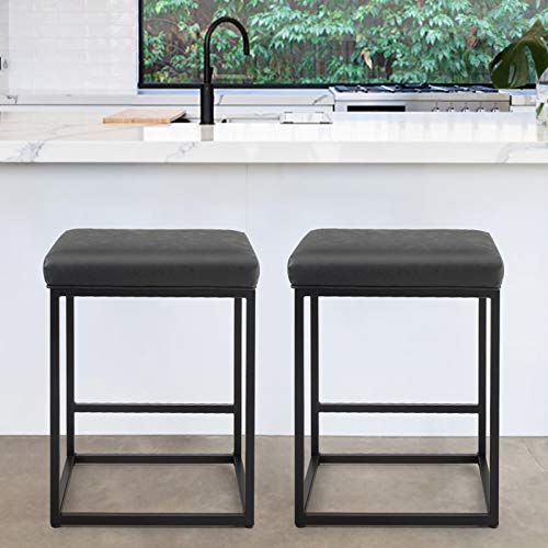 PHI VILLA Bar Stools Set of 2,24 Inches Square Leather Counter Height Bar Stools Without Back for Kitchen,Dining Room and Living Room,Modern Designed Bar Stools Furniture Decorates Every Room,Black