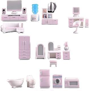 23 Pieces Miniature Dollhouse Furniture Set Furniture Models, Mini TV Computer Bookcase Audio Dressing Table Kettle Kitche...