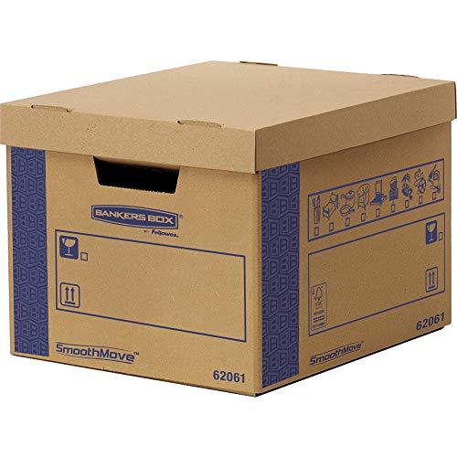 Caisses de Déménagement en Carton Double Epaisseur pour Usage Intensif SmoothMove avec Poignées-Montage sans Adhésif, Système d'Assamblage Automatique FastFold, 49 ltr, 29 x 38,5 x 46 cm (Lot de 5)