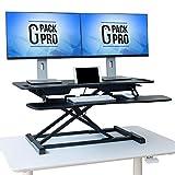 G-PACK PRO Standing Desk Converter - Height Adjustable Sit Stand Desk Riser up to 20.5' - Super Wide 37' Table fits Dual Monitors - 22 Ergonomic Adjustable Standing Desk Workstation Positions