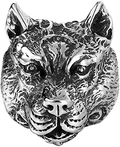 LAMUCH Men's Gothic Stainless Steel Band Rings Vintage Silver Black Muscle Dog Head Biker Rings US Size 7-13