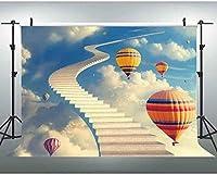 HD 7x5ft天国への階段青空白い雲熱気球写真の背景ファンタジー写真撮影小道具 017