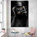 Impresiones en Lienzo Pintura Modern Black Woman Model Wall Art Poster and Prints Pictures Decoración del hogar para la Sala de Estar-Sin marco-40X60cm