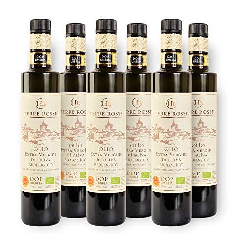 Terre Rosse - Huile d Olive Bio Extra Vierge Italienne Pressée à Froid - Monocultivar Moraiolo - Certifications DOP Umbria Assisi Spoleto et Kascher P - Récolte des Olives 2020 - 6 Bouteilles 500 ml