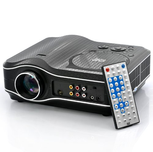 SSSabsir 2100 Lumens DVD Projector with DVD Player Video Game Projector Beamer 400:1 Contrast white border UK plug