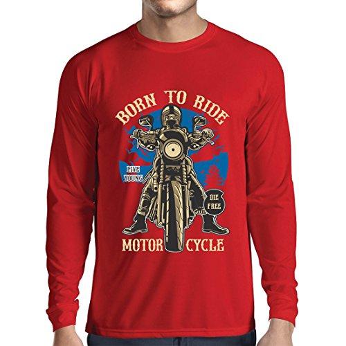 Camiseta de Manga Larga para Hombre Live Young - Die Free - Nacido para Montar en Moto, Ideas de Regalos para Ciclistas, Lemas inspiradores (X-Large Rojo Multicolor)