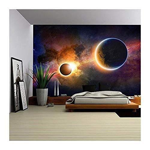 Fototapete Tapete Wanddeko Home Decor 3D Leuchtende Planetenerde Im Weltraum Selbstklebende Wallpaper Tv Hintergrund Wandbilder, 350Cm X 245 Cm