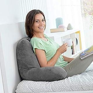 InnovaGoods Almohada de Lectura con Apoyabrazos Huggilow, Gris, 70 x 45 x 45 cm