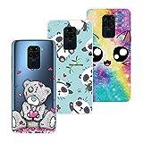 QC-EMART Lot de 3 Coques Compatible avec Xiaomi Redmi Note 9 Coque Silicone Transparente Ours Panda...
