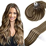 Vivien Brown Micro Loop Ring Human Hair Extensions 14in Balayage Dark Brown to Caramel Blonde with Brown Micro Beads Hair Extensions Ombre Human Hair Real Hair Microlink Extensions 50g 1g/s