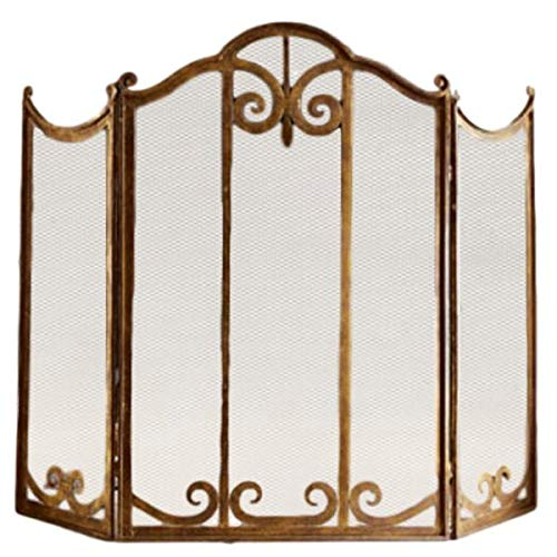 Buy Discount MY SWANKY HOME Classic Scroll Antique Gold Iron Fireplace Screen Vintage Style Arch Fir...